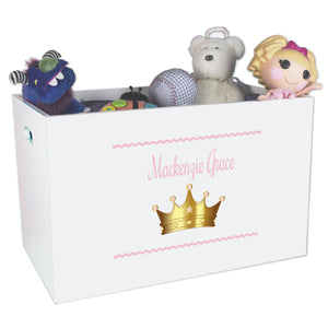 Personlalized Pink Princess Crown Toy Box