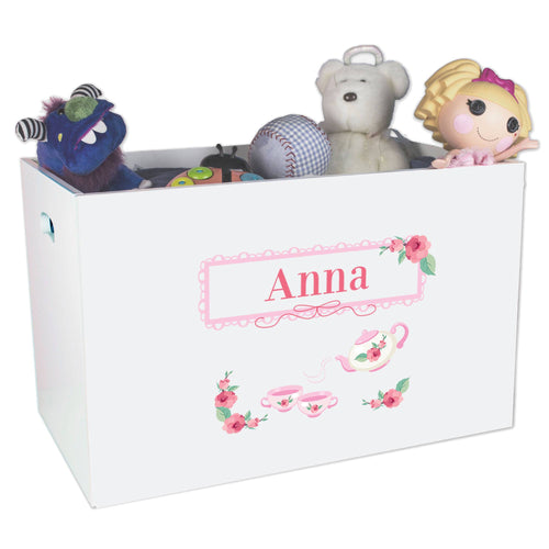 Open White Toy Box Bench with Tea Party design