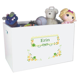Open White Toy Box Bench with Shamrock design