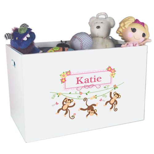 Open White Toy Box Bench with Monkey Girl design