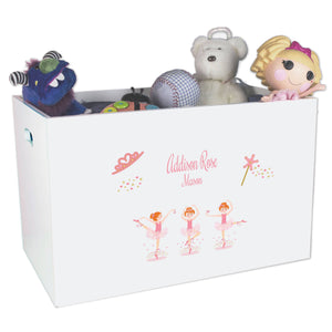 Open White Toy Box Bench with Ballerina Red Hair design