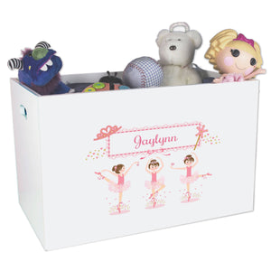 Open White Toy Box Bench with Ballerina Brunette design