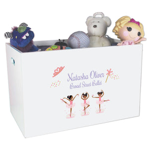 Open White Toy Box Bench with Ballerina African American design