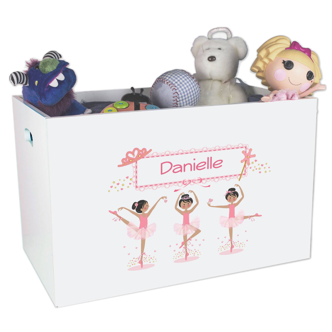 Open White Toy Box Bench with Ballerina Black Hair design