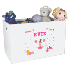 Open White Toy Box Bench with Cheerleader Brunette Hair design