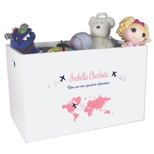 Open White Toy Box Bench with World Map Pink design
