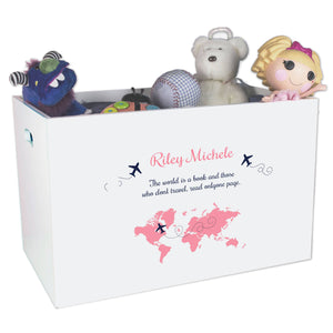 Open Top Toy Box - World Map Pink