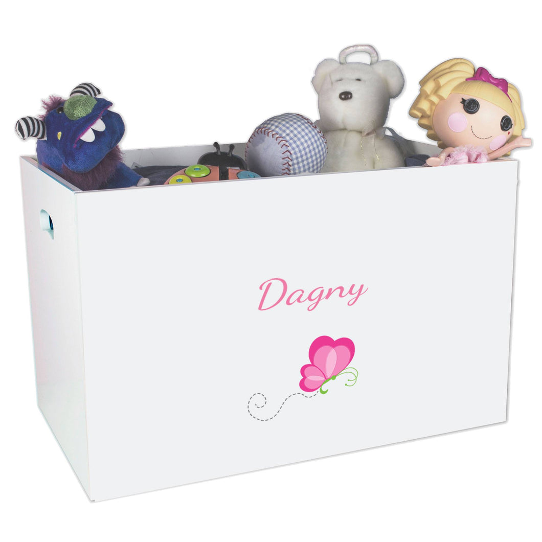 Open White Toy Box Bench with Single Flutterfly design
