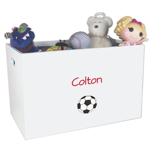 Open White Toy Box Bench with Single Soccer design
