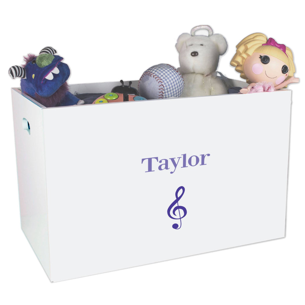 Open White Toy Box Bench with Single Music design