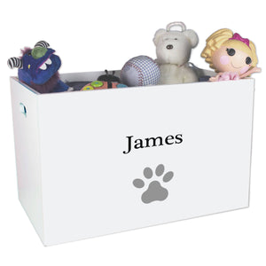 Open White Toy Box Bench with Single Paw Print design