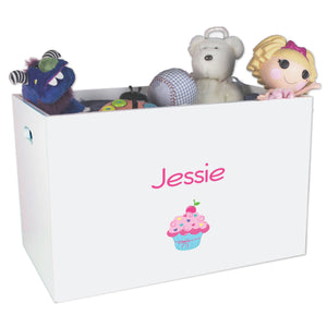 Open White Toy Box Bench with Single Cupcake design