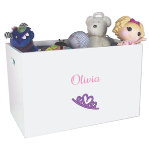 Open White Toy Box Bench with Single Tiara design