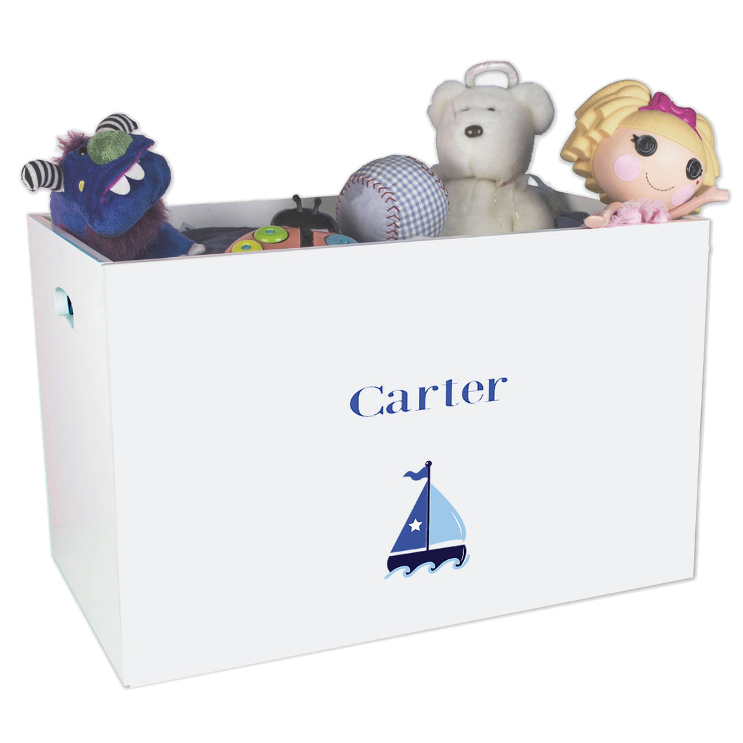 Open White Toy Box Bench with Single Sailboat design