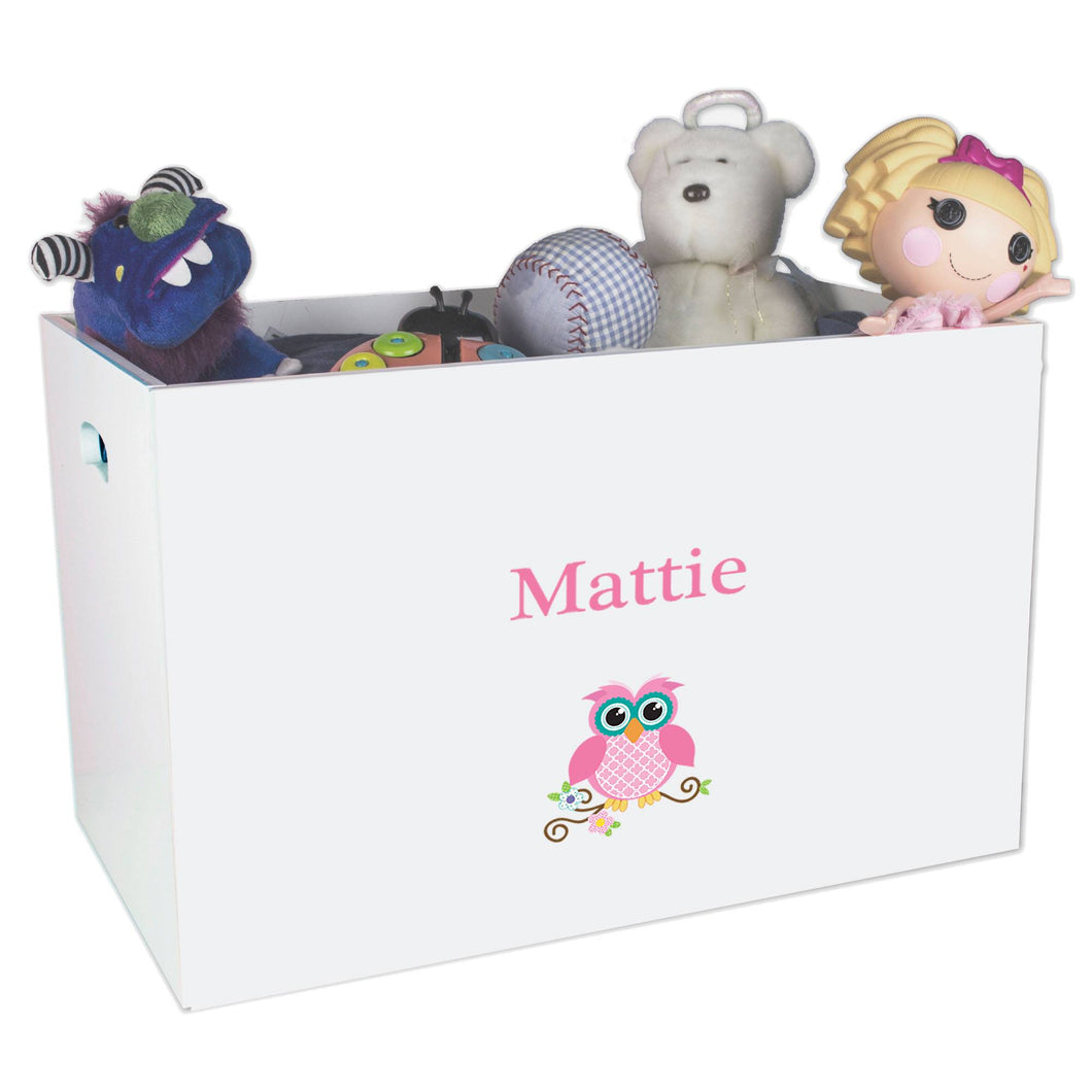 Open White Toy Box Bench with Single Owl design