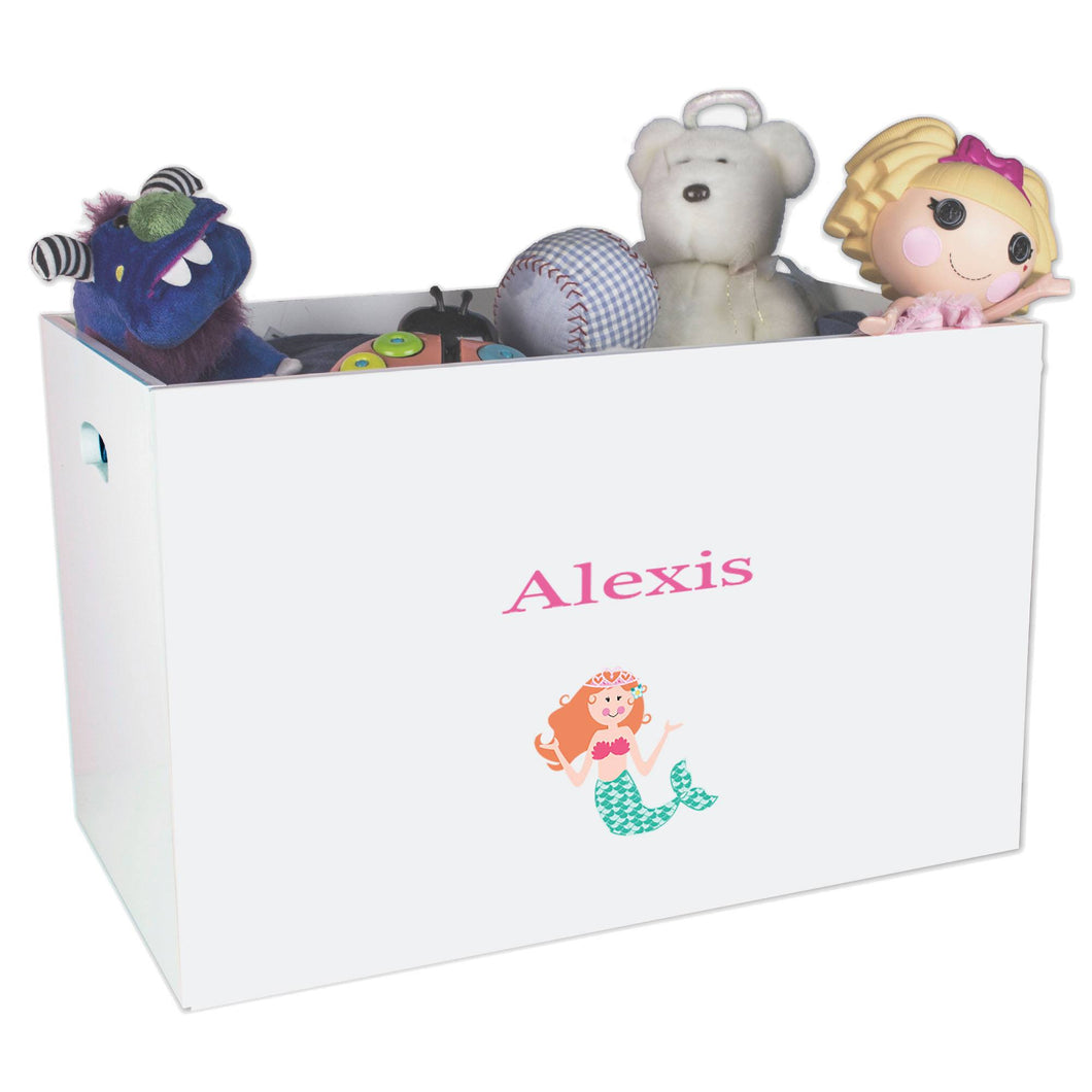 Open White Toy Box Bench with Single Mermaid design
