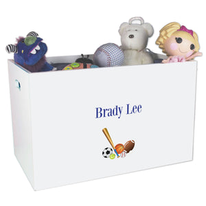 Open White Toy Box Bench with Single Sports Bas design