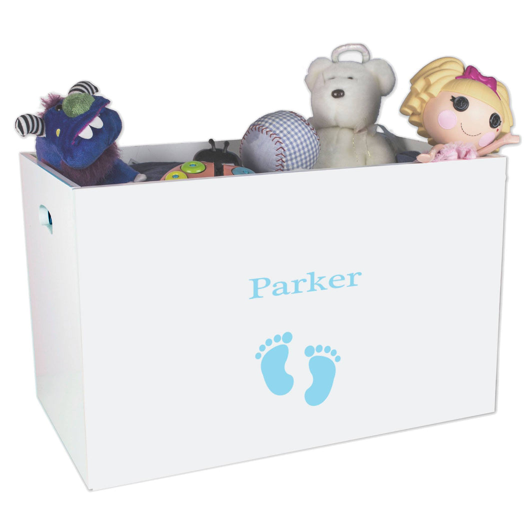 Open White Toy Box Bench with Single Footprints Blue design