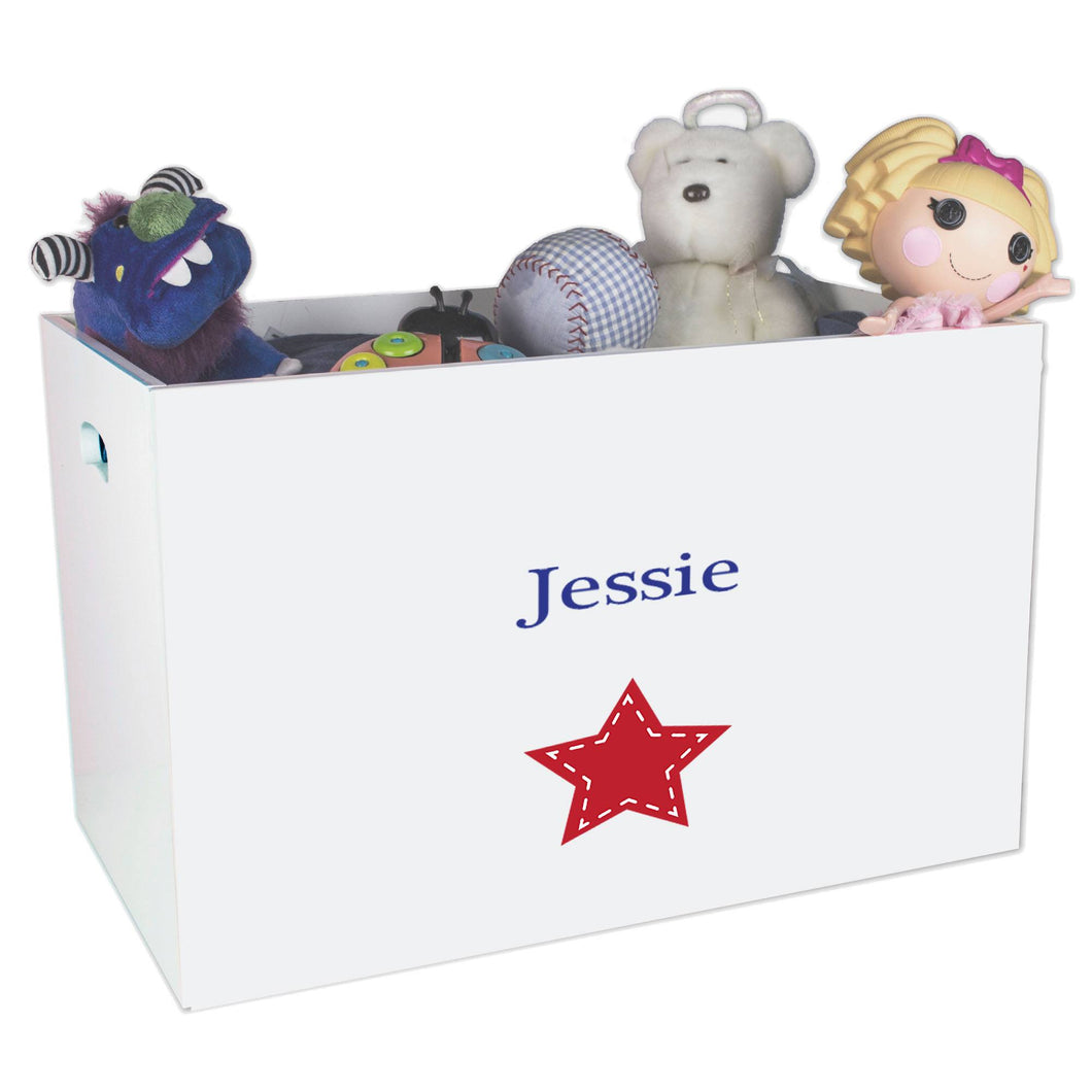 Open White Toy Box Bench with Single Star design