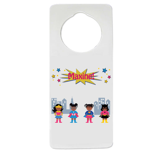 African American Girls Superhero Door Hanger