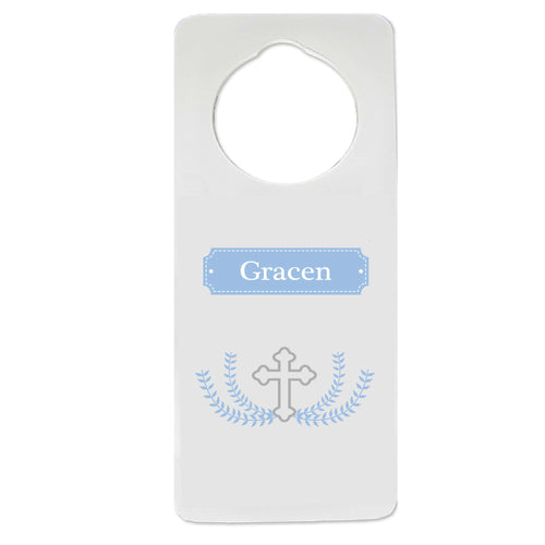 Cross Garland Light Blue Door Hanger
