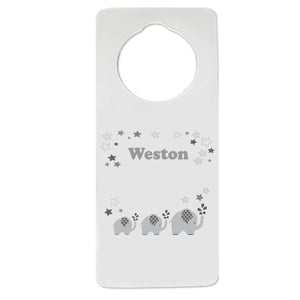 Gray Elephant Door Hanger