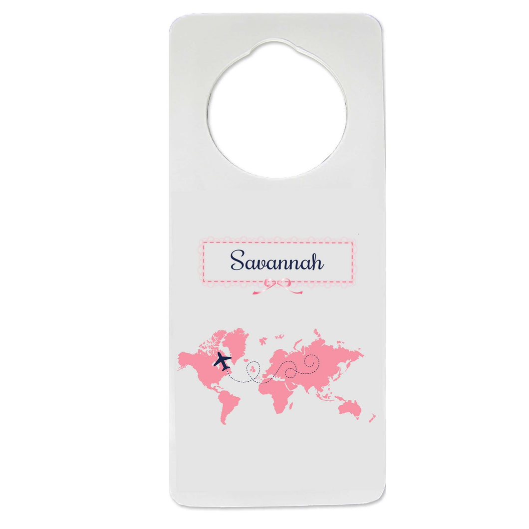 Pink World Map Door Hanger