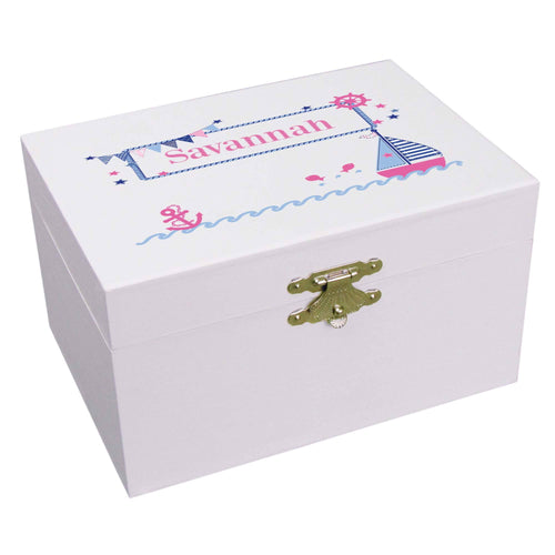 Girls Pink Navy Sailboat Personalized Ballerina Jewelry Box
