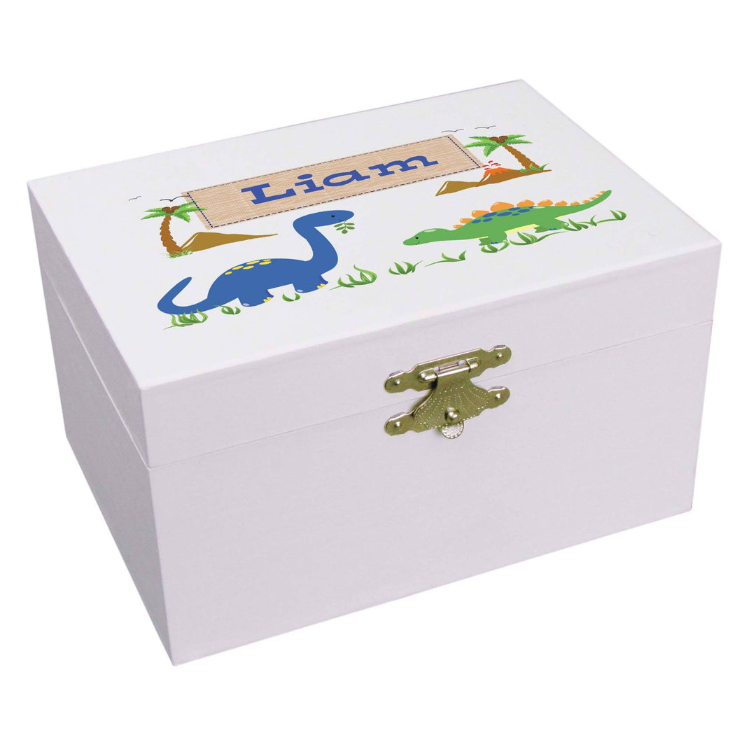 Personalized Ballerina Jewelry Box with Dinosaurs design