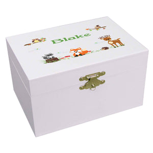 Personalized Ballerina Jewelry Box with Green Forest Animal design