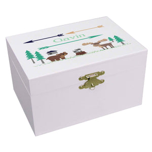 Personalized Ballerina Jewelry Box with North Woodland Critters design