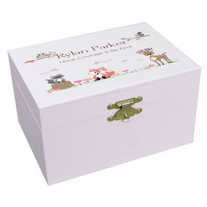 Personalized Ballerina Jewelry Box with Gray Woodland Critters design