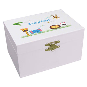 Personalized Ballerina Jewelry Box with Jungle Animals Boy design