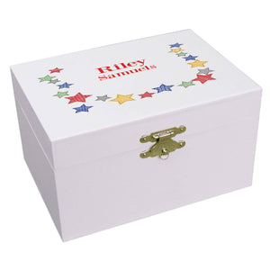 Personalized Ballerina Jewelry Box with Stitched Stars design