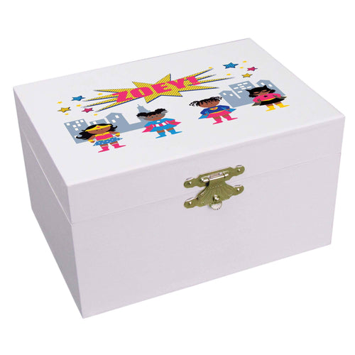 Personalized African American Superhero Girl Ballerina Jewelry Box