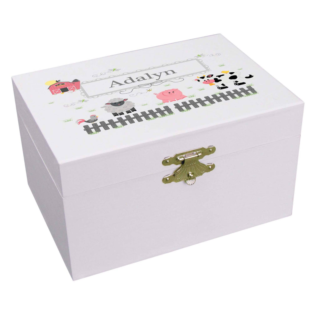 Personalized Ballerina Jewelry Box with Barnyard Friends Pastel design