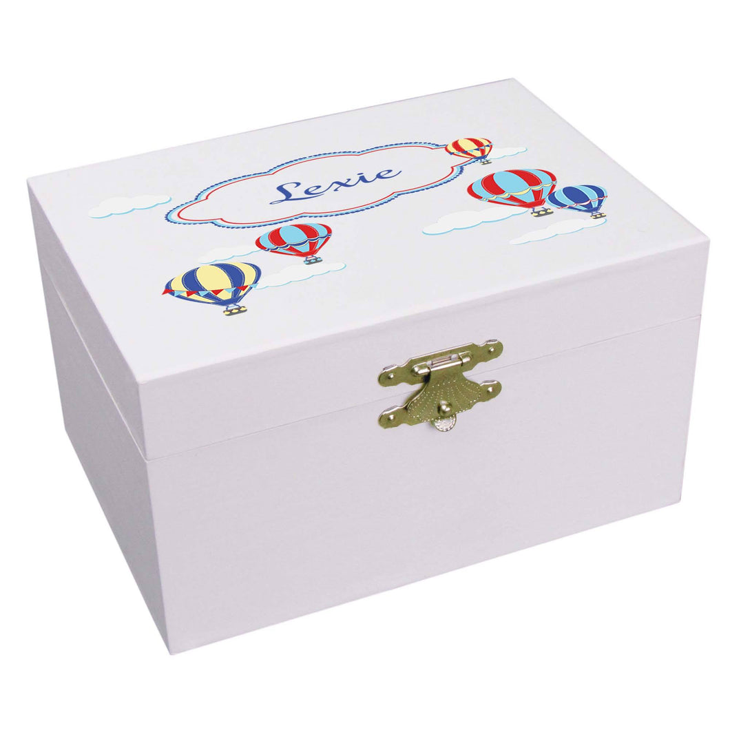 Personalized Ballerina Jewelry Box with Hot Air Balloon Primary design