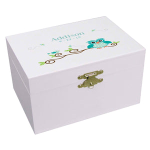 Personalized Ballerina Jewelry Box with Blue Gingham Owl design