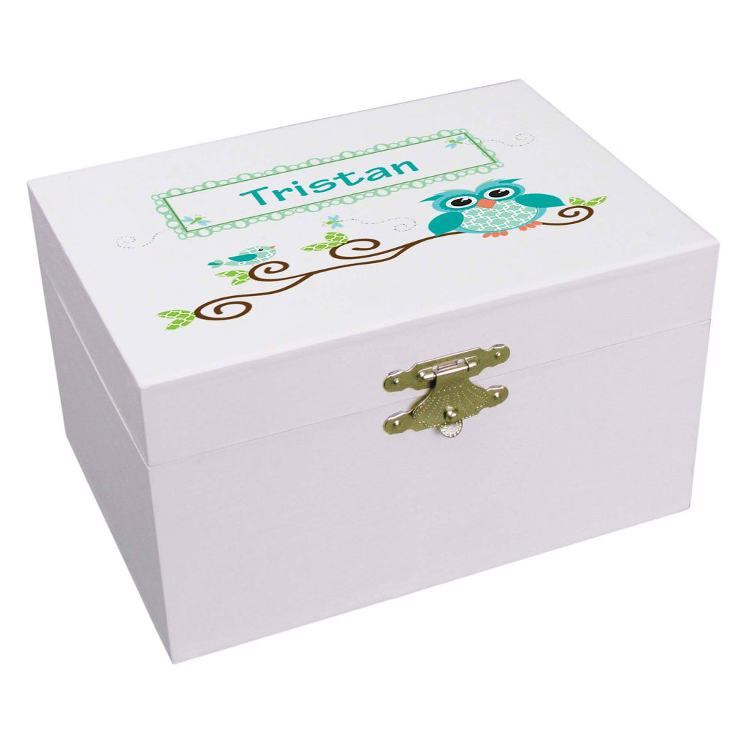 Personalized turquoise owl Ballerina Jewelry Box