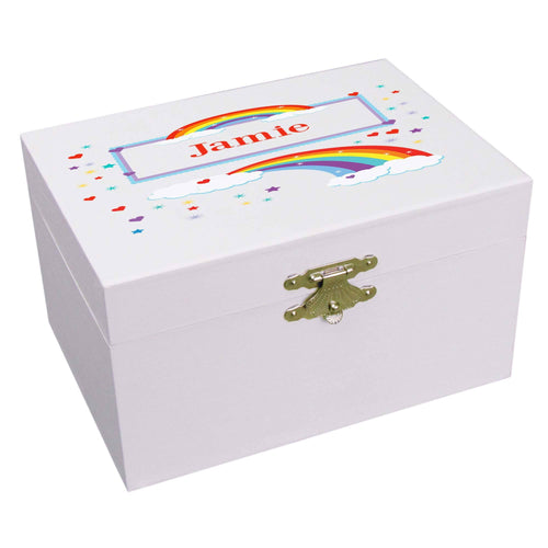 Personalized Ballerina Jewelry Box with Rainbow design