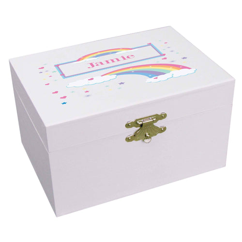 Personalized Ballerina Jewelry Box with Rainbow Pastel design