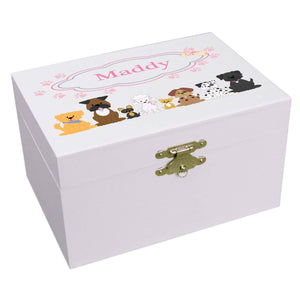Personalized Ballerina Jewelry Box with Pink Dog design