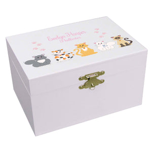 Personalized Ballerina Jewelry Box with Pink Cats design