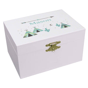 Personalized Ballerina Jewelry Box with Teepee Aqua Mint design