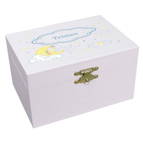 Personalized Ballerina Jewelry Box with Moon and Stars design