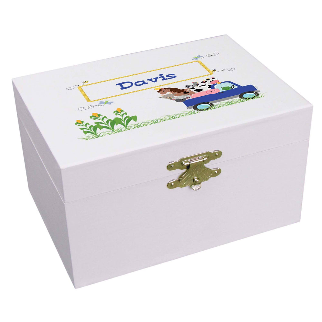 Personalized Ballerina Jewelry Box with Blue Farm Truck design