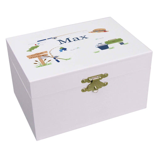 Personalized Ballerina Jewelry Box with Gone Fishing design