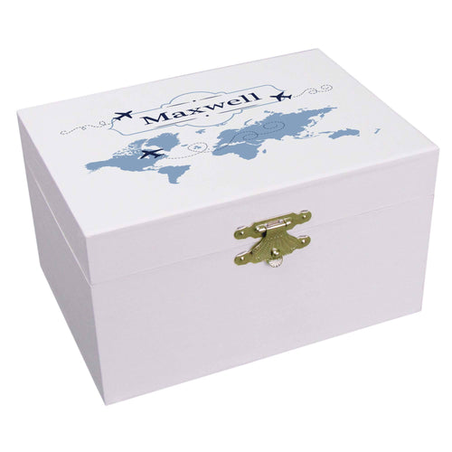 Personalized Ballerina Jewelry Box with World Map Blue design