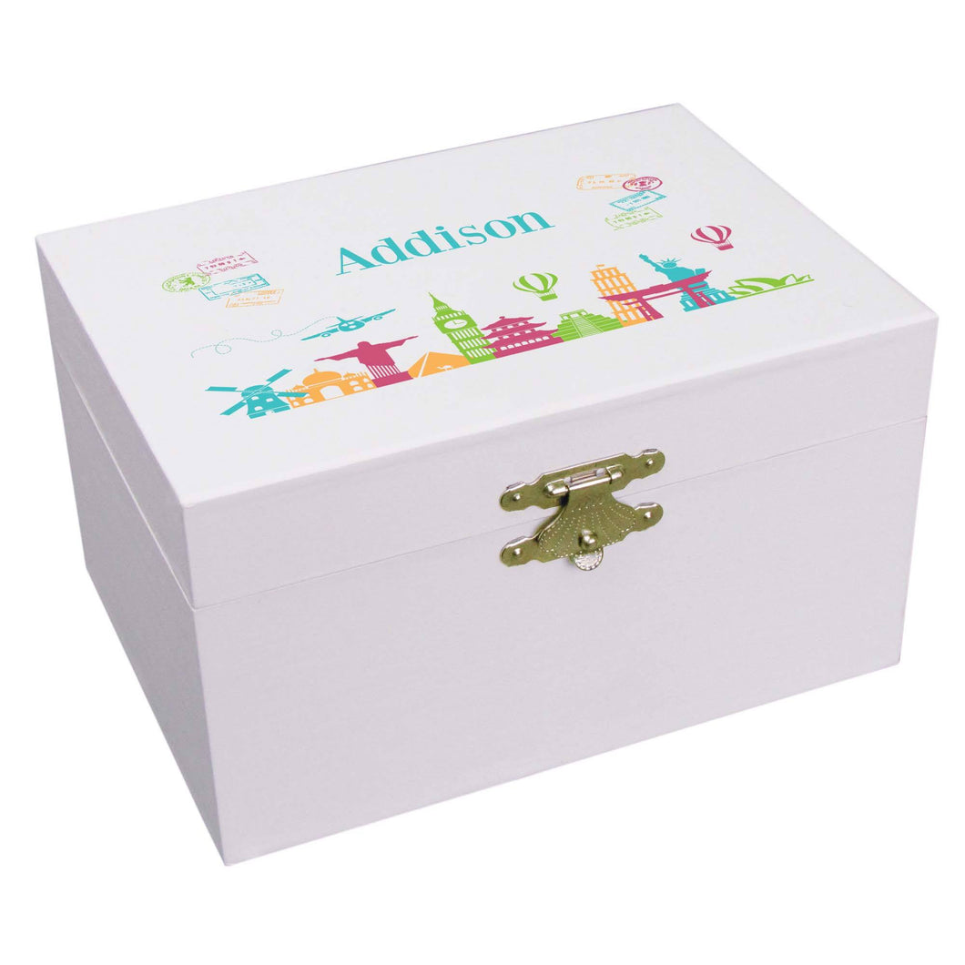 Personalized Ballerina Jewelry Box with World Travel design
