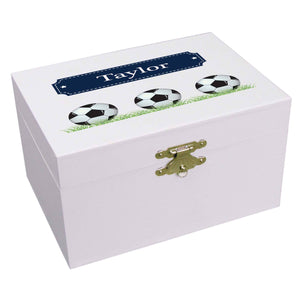 Personalized Ballerina Jewelry Box with Soccer Balls design